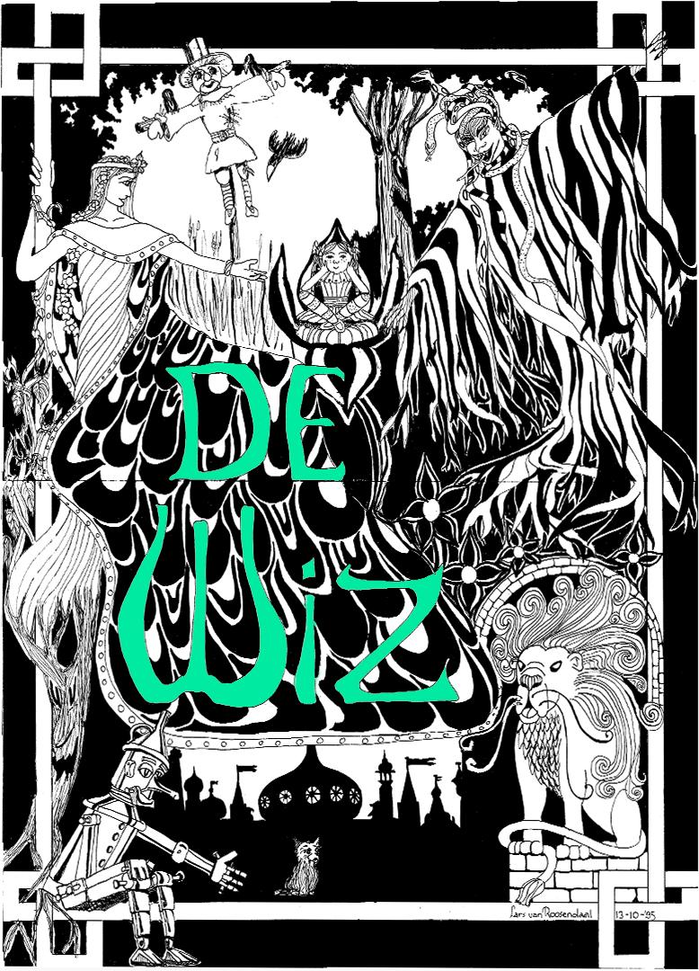 """Plakat für Schulaufführung """"De Wiz"""", eine Bühnenbearbeitung der Wizard of Oz."""