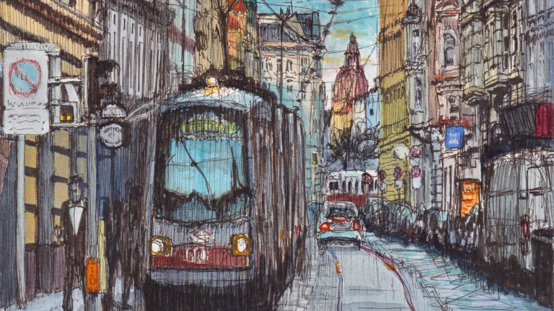 Urban Sketch Westbahnstraße, Wien –Ausschnitt