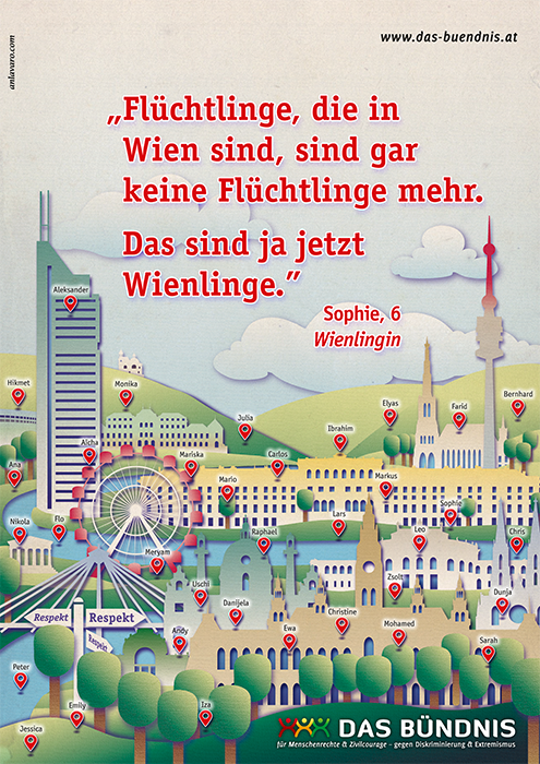 "Plakat ""Wienlinge"" für Bündnis gegen den Rechtsruck ""Flüchtlinge, die in Wien sind, sind gar keine Flüchtlinge mehr. Das sind jetzt Wienlinge."" Sophie, 6 Wienlingin"