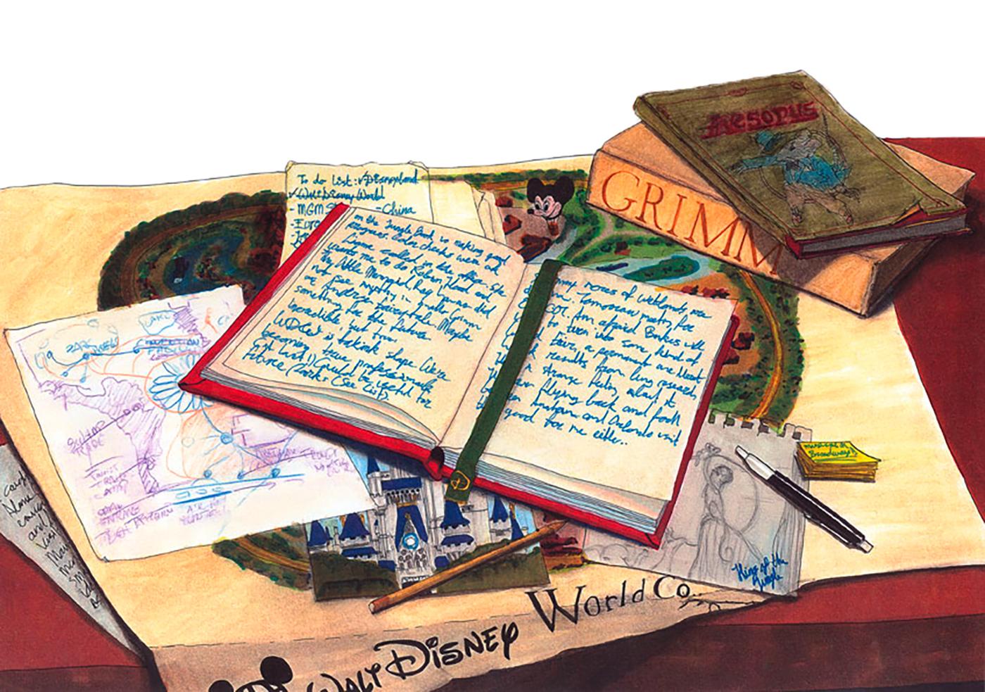 Tagebuch von Walt Disney, Copic Marker und Aquarellbuntstifte, A3