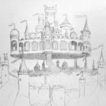 Die fliegende Stadt, Bleistift, Papier, A4