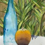Stillleben mit Orange und Flasche