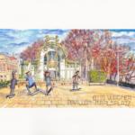 Otto Wagner-Pavillon Karlsplatz, Wien | Aquarell, Platinum Pen | 8. März 2019