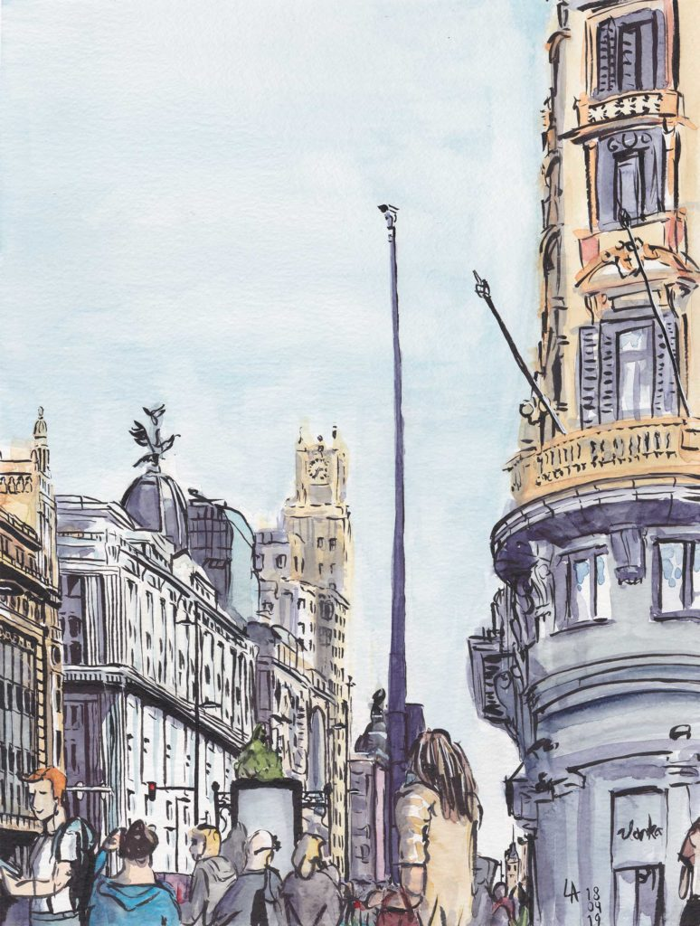 Gran Via, Madrid | Pentel Brush Pen & Aquarell | 18. April 2019